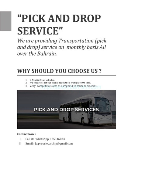 pick and drop service monthly basis